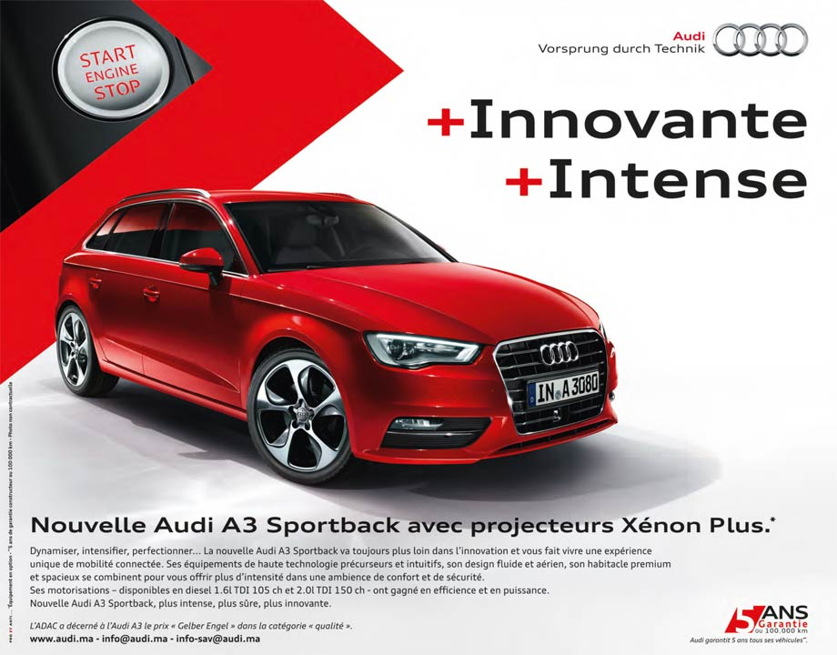 promotion audi a3 sportback maroc partir de dh. Black Bedroom Furniture Sets. Home Design Ideas