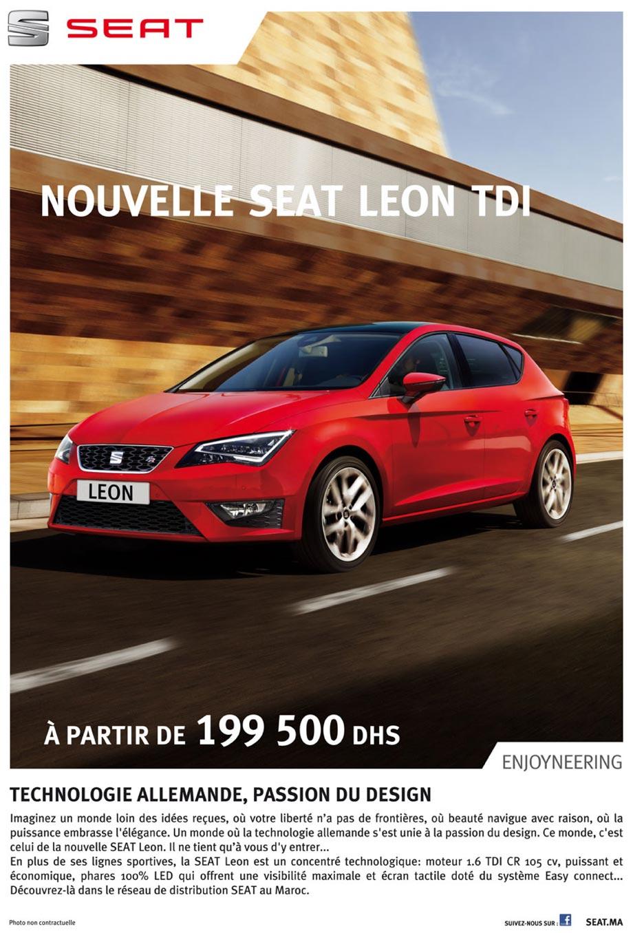 promotion seat leon maroc prix partir de dh promotion au maroc. Black Bedroom Furniture Sets. Home Design Ideas