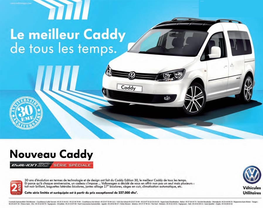 promotion volkswagen caddy maroc prix partir de dh promotion au maroc. Black Bedroom Furniture Sets. Home Design Ideas