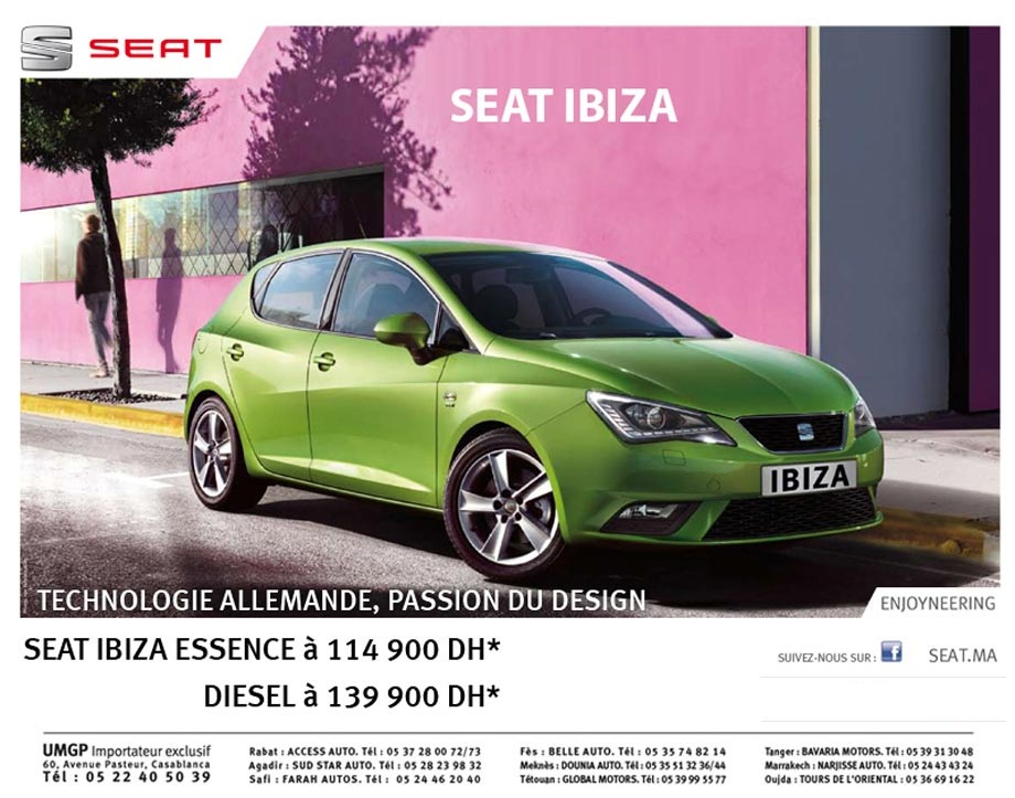 promotion seat ibiza maroc prix partir de dh. Black Bedroom Furniture Sets. Home Design Ideas
