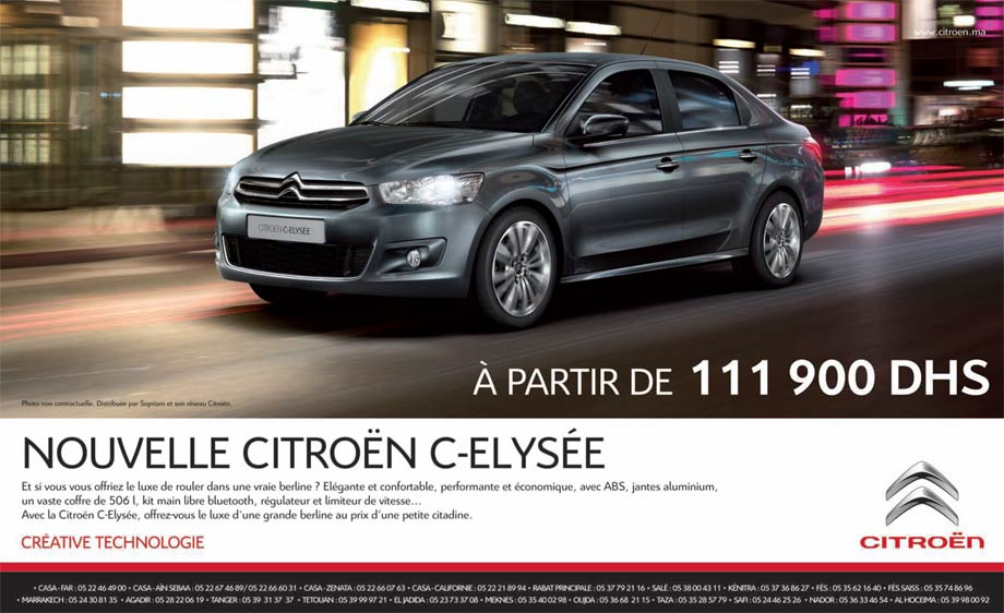 promotion citroen c elys e prix partir de dh promotion au maroc. Black Bedroom Furniture Sets. Home Design Ideas