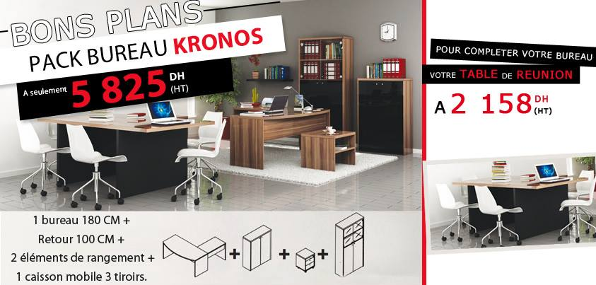 kitea bons plans pack bureau kronos prix a seulement 5825 dh ht promotion au maroc. Black Bedroom Furniture Sets. Home Design Ideas