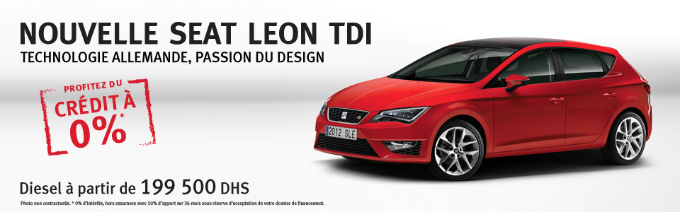 promotion seat leon tdi cr dit gratuit partir de 199 500 dh promotion au maroc. Black Bedroom Furniture Sets. Home Design Ideas