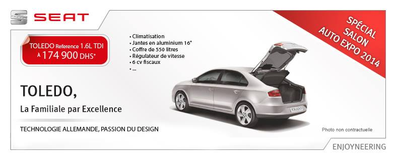 offre et promotion seat toledo reference salon auto expo 2014 maroc promotion au maroc. Black Bedroom Furniture Sets. Home Design Ideas