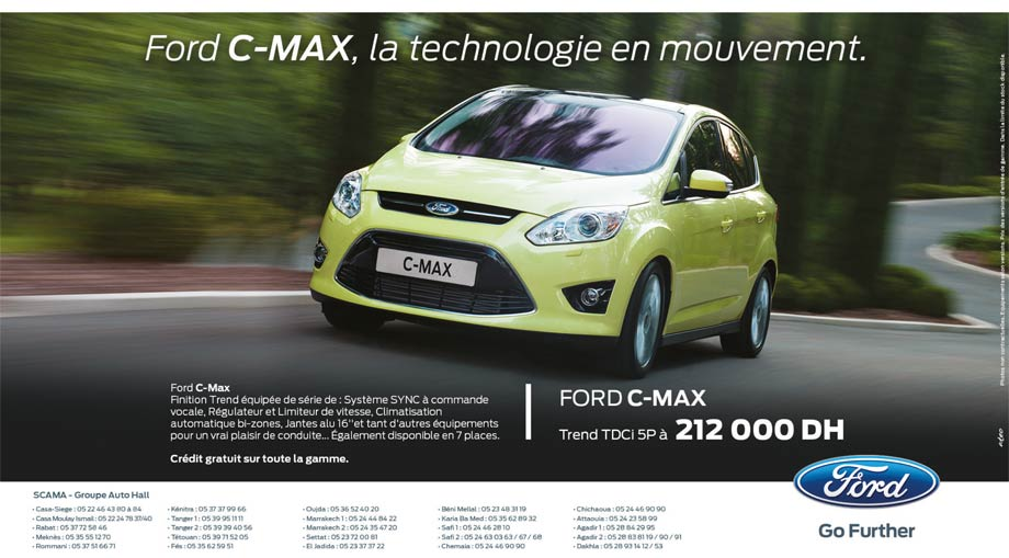 promotion ford c max maroc prix partir de 212 000 dh promotion au maroc. Black Bedroom Furniture Sets. Home Design Ideas