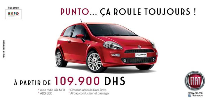 fiat punto maroc promotion prix partir 109 900 dhs promotion au maroc. Black Bedroom Furniture Sets. Home Design Ideas