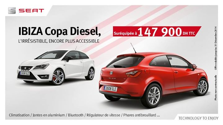 seat ibiza copa diesel maroc promotion prix 147 900 dh promotion au maroc. Black Bedroom Furniture Sets. Home Design Ideas