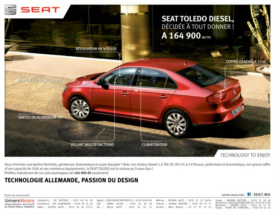 seat toledo diesel maroc promotion prix 164 900 dh promotion au maroc. Black Bedroom Furniture Sets. Home Design Ideas