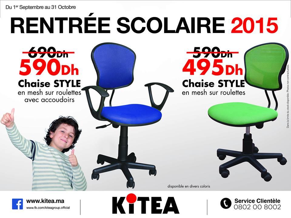 kitea maroc promotion de la rentr e scolaire 2015 chaise style prix partir de 495 dh. Black Bedroom Furniture Sets. Home Design Ideas