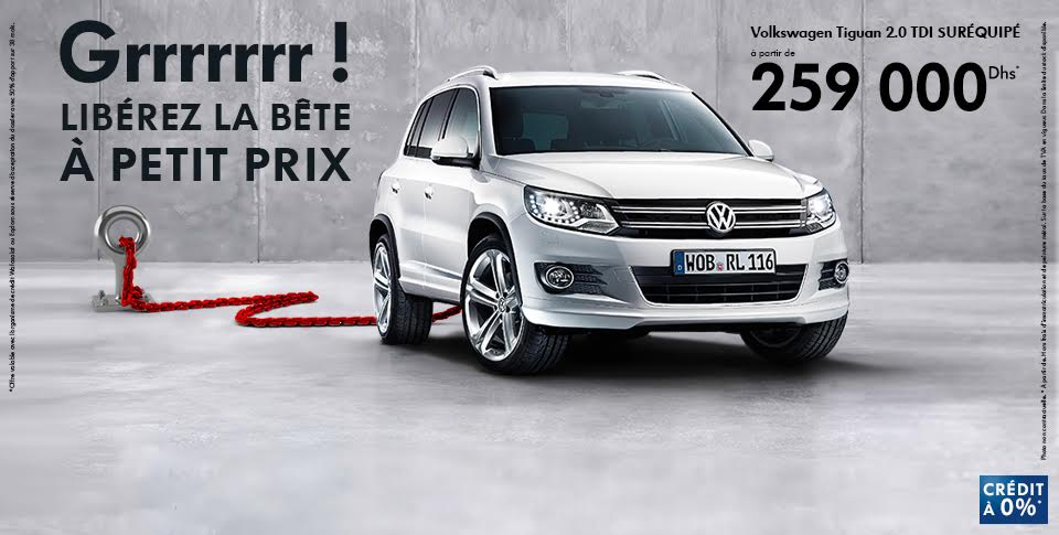 volkswagen tiguan maroc 2 0 tdi promotion cr dit gratuit 0 prix partir de 259 000 dh. Black Bedroom Furniture Sets. Home Design Ideas
