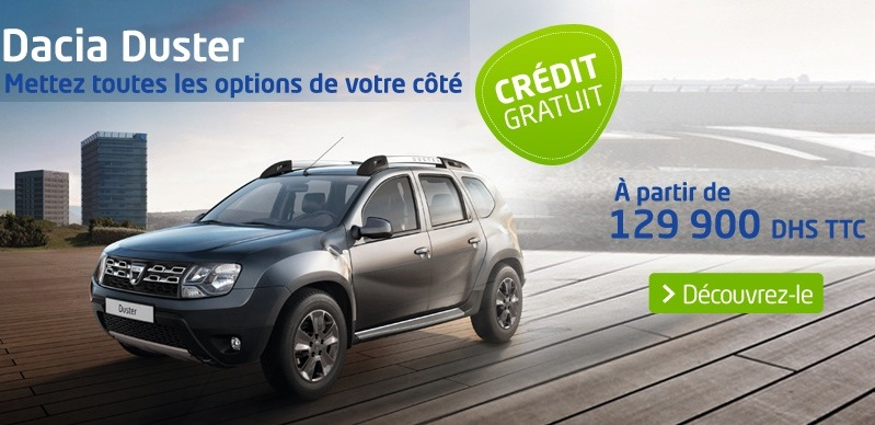 promotion dacia duster neuve au maroc prix partir de 129. Black Bedroom Furniture Sets. Home Design Ideas