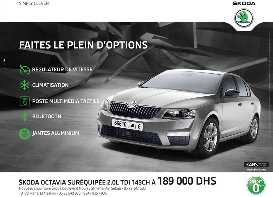 promotion skoda octavia maroc tdi prix partir de 189 000 dh promotion au maroc. Black Bedroom Furniture Sets. Home Design Ideas