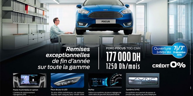 ford focus maroc promotion prix partir de 177 000 dh avec cr dit gratuit promotion au maroc. Black Bedroom Furniture Sets. Home Design Ideas