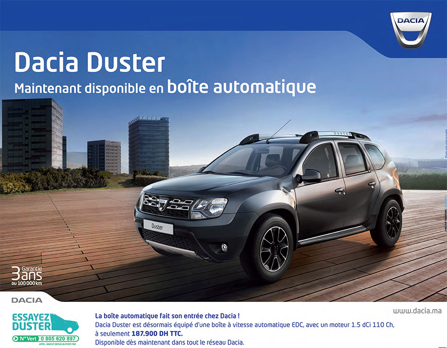 dacia duster au maroc promotion prix partir de dh promotion au maroc. Black Bedroom Furniture Sets. Home Design Ideas