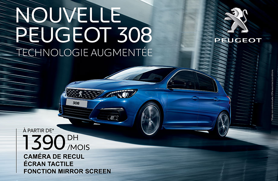 la nouvelle peugeot 308 promotion prix partir de 1390 dh par mois promotion au maroc. Black Bedroom Furniture Sets. Home Design Ideas