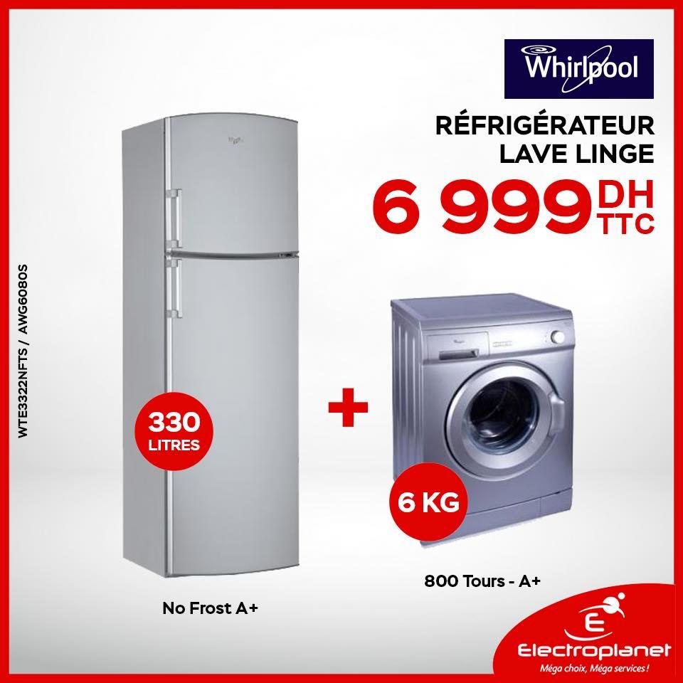 Electroplanet Promotion Sur Le Pack Whirlpool Refrigerateur 330l Machine A Laver 6 Kg A 6 999 Dh Promotion Au Maroc