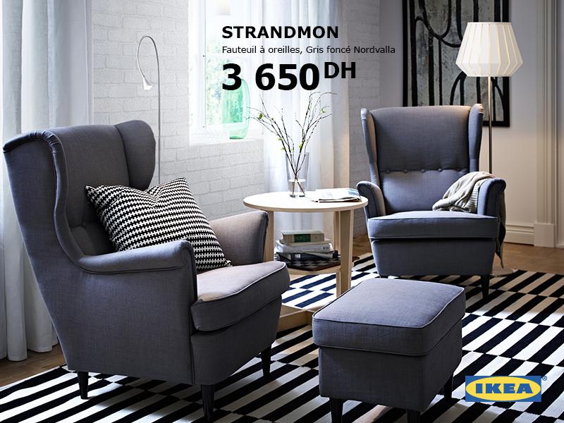 ikea maroc promotion sur fauteuil oreilles strandmon. Black Bedroom Furniture Sets. Home Design Ideas